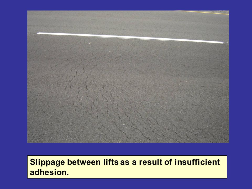 Slippage between lifts as a result of insufficient adhesion.