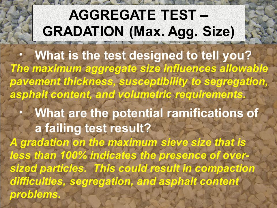 AGGREGATE TEST – GRADATION (Max. Agg. Size)