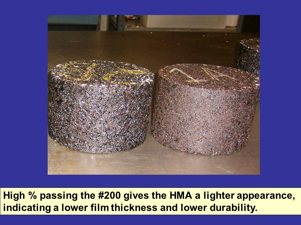 High % passing the #200 gives the HMA a lighter appearance, indicating a lower film thickness and lower durability.