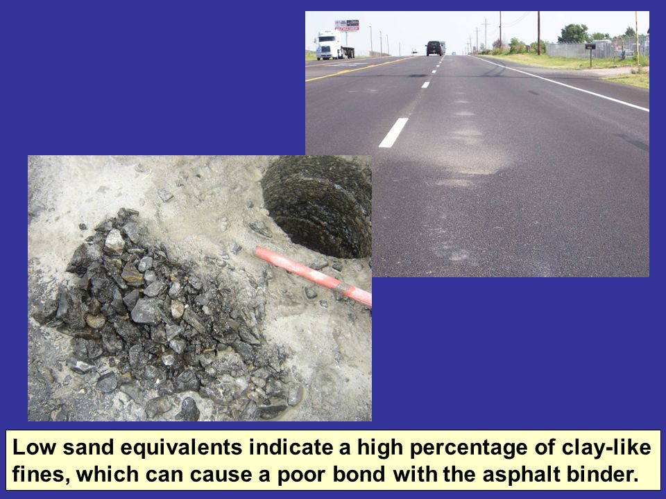 Low sand equivalents indicate a high percentage of clay-like fines, which can cause a poor bond with the asphalt binder.