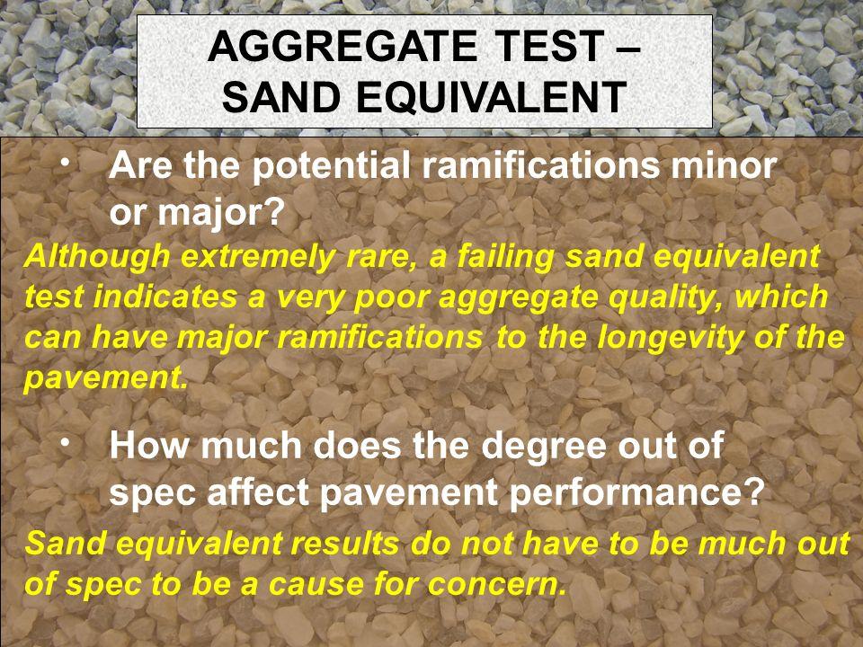 AGGREGATE TEST – SAND EQUIVALENT