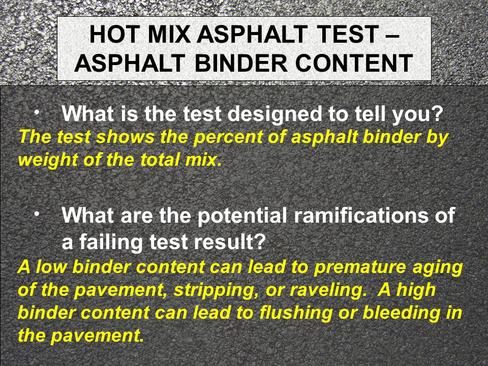 HOT MIX ASPHALT TEST – ASPHALT BINDER CONTENT