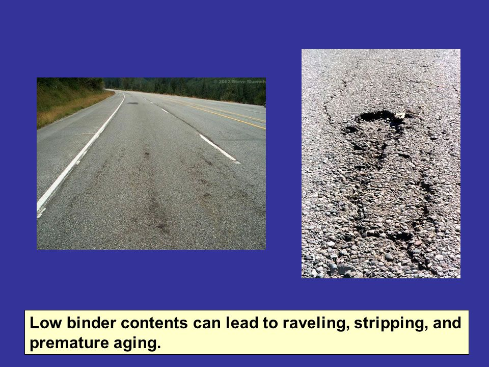 Low binder contents can lead to raveling, stripping, and premature aging.