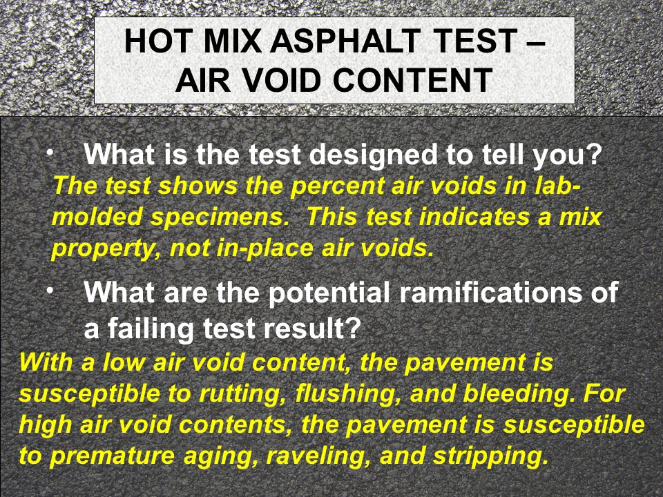 HOT MIX ASPHALT TEST – AIR VOID CONTENT