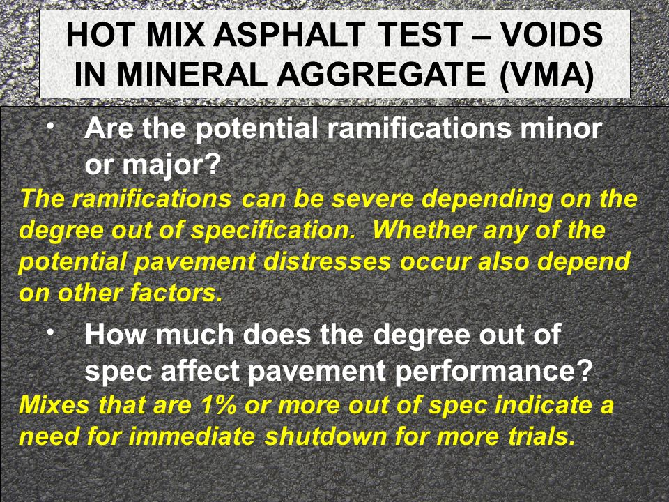 HOT MIX ASPHALT TEST – VOIDS IN MINERAL AGGREGATE (VMA)