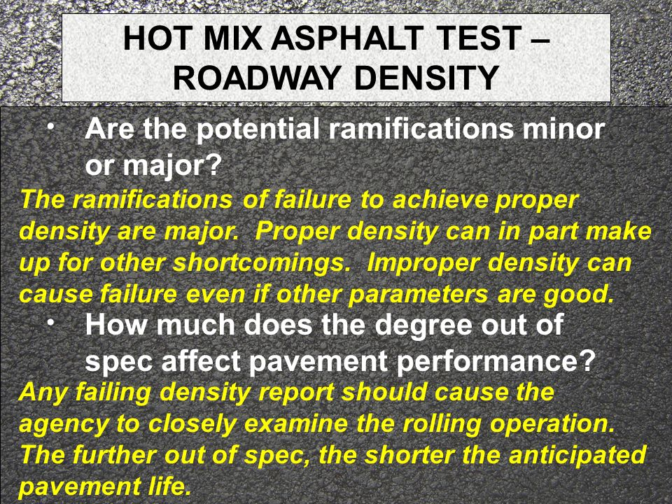 HOT MIX ASPHALT TEST – ROADWAY DENSITY