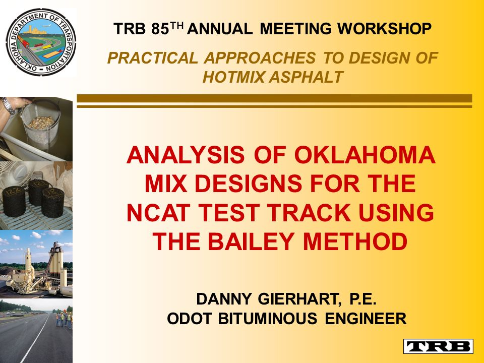 TRB 85TH ANNUAL MEETING WORKSHOP