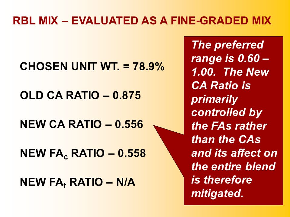 RBL MIX – EVALUATED AS A FINE-GRADED MIX