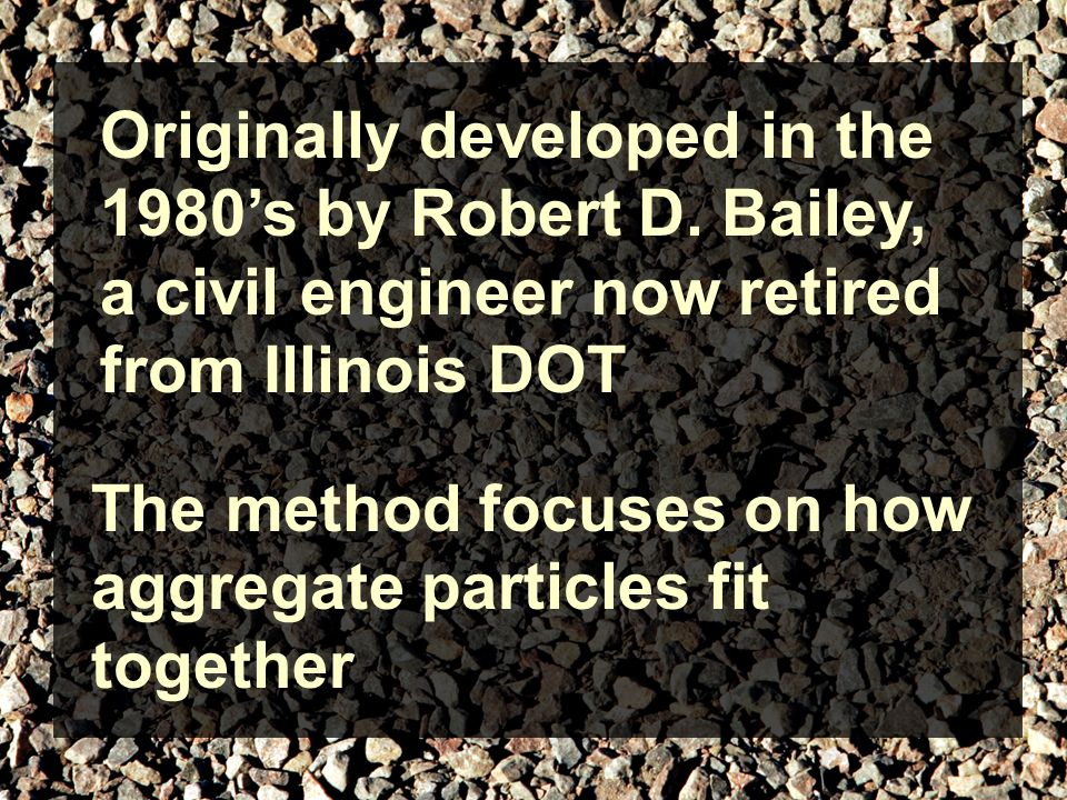 The method focuses on how aggregate particles fit together