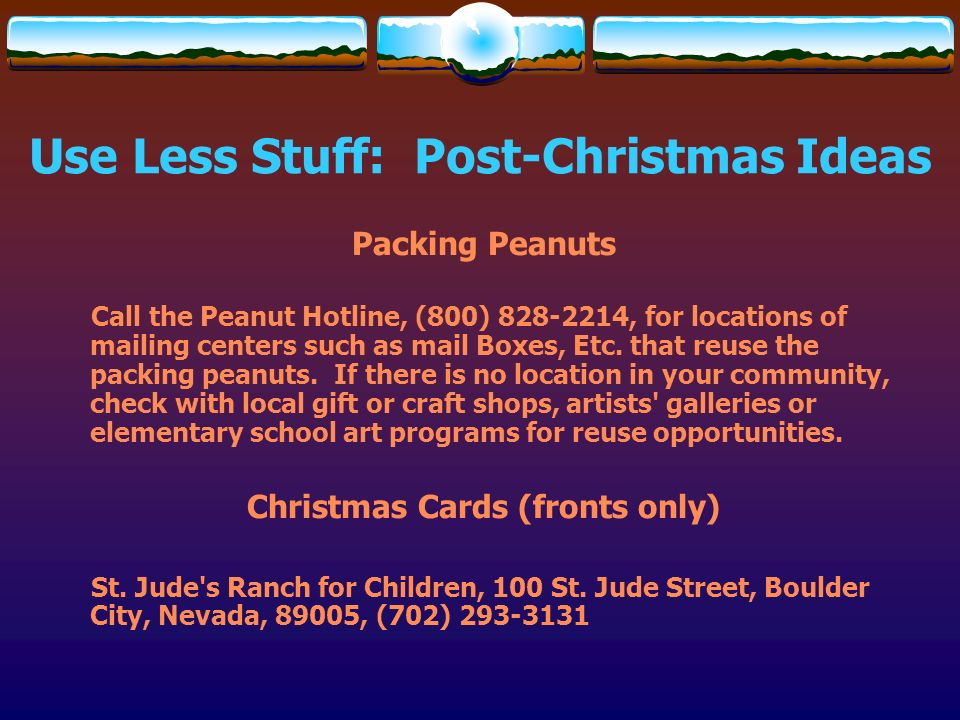 Use Less Stuff: Post-Christmas Ideas