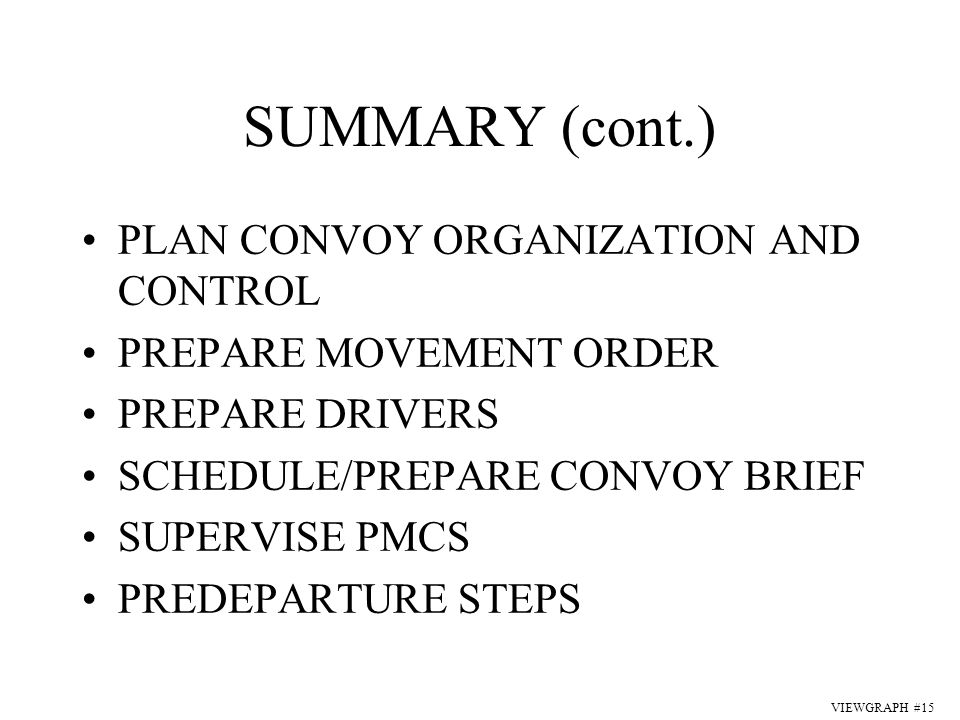 Convoy Brief Template. reorganization decision brief. joint light ...