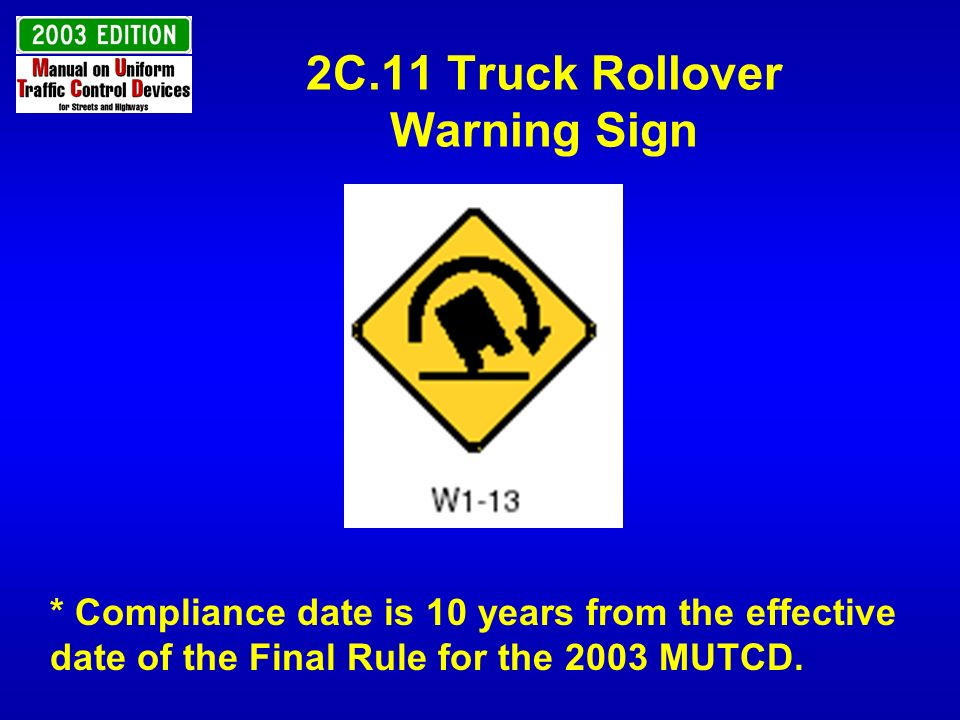 2C.11 Truck Rollover Warning Sign
