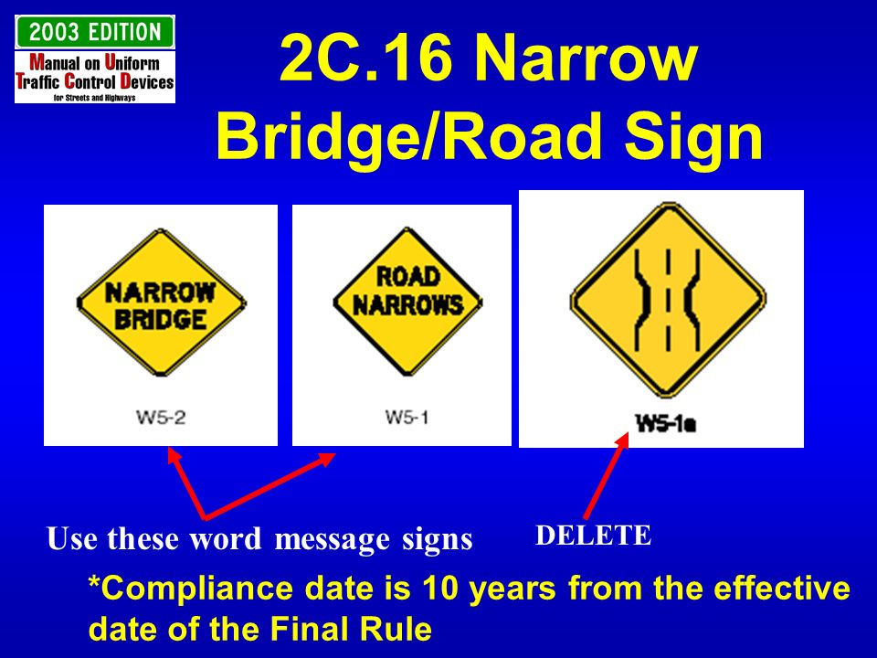 2C.16 Narrow Bridge/Road Sign