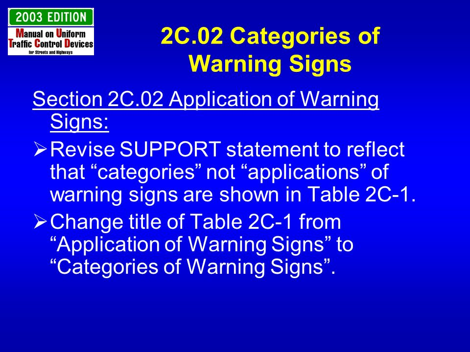 2C.02 Categories of Warning Signs