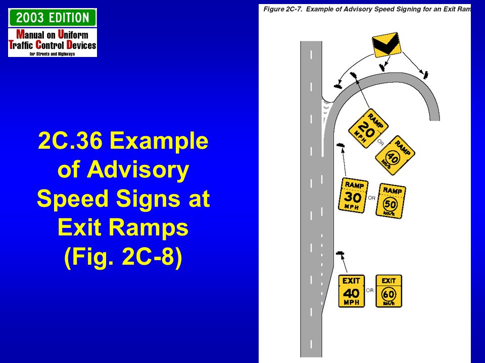 2C.36 Example of Advisory Speed Signs at Exit Ramps (Fig. 2C-8)