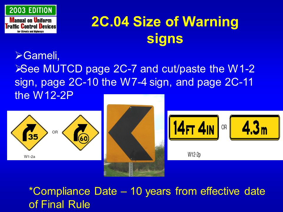 2C.04 Size of Warning signs Gameli,