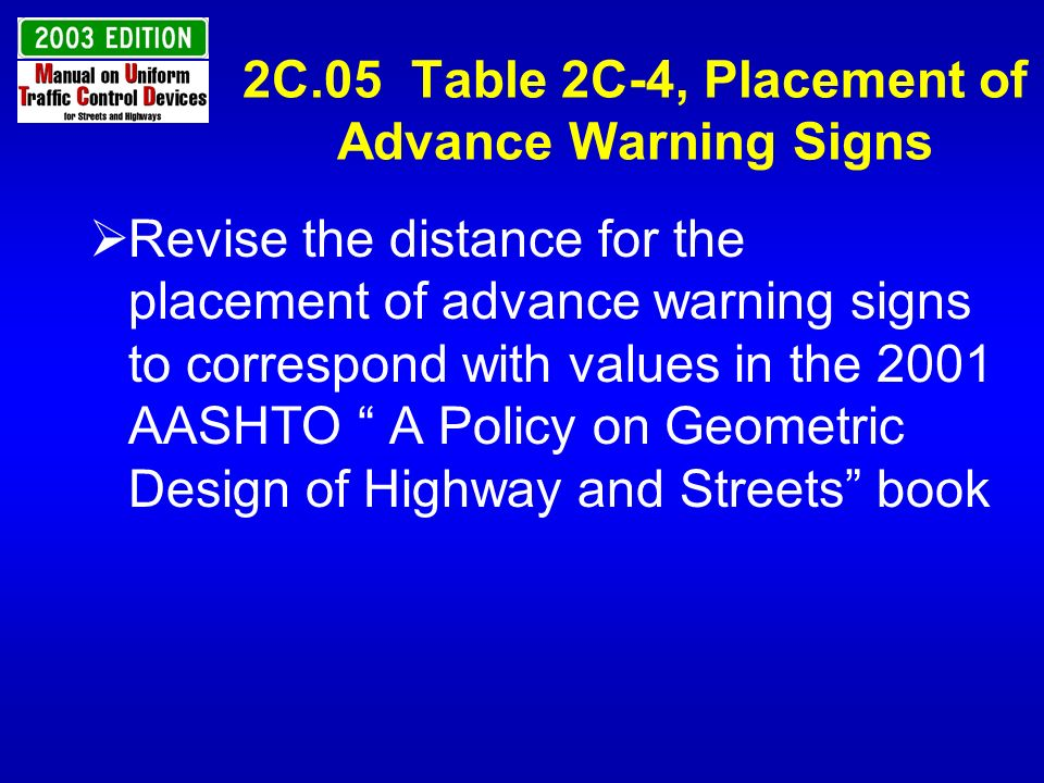 2C.05 Table 2C-4, Placement of Advance Warning Signs