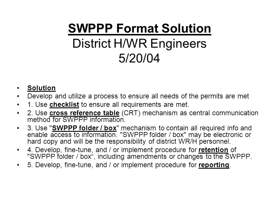 SWPPP Format Solution District H/WR Engineers 5/20/04