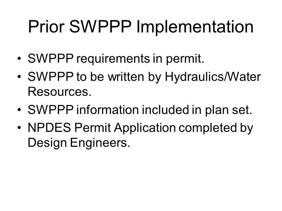 Prior SWPPP Implementation