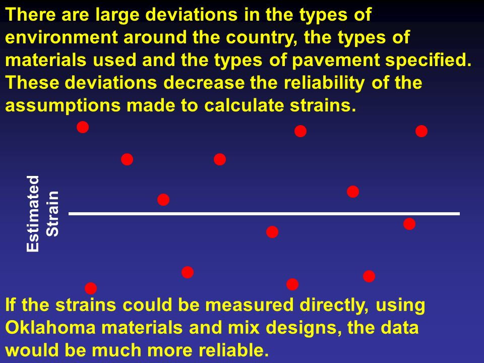 There are large deviations in the types of environment around the country, the types of materials used and the types of pavement specified. These deviations decrease the reliability of the assumptions made to calculate strains.