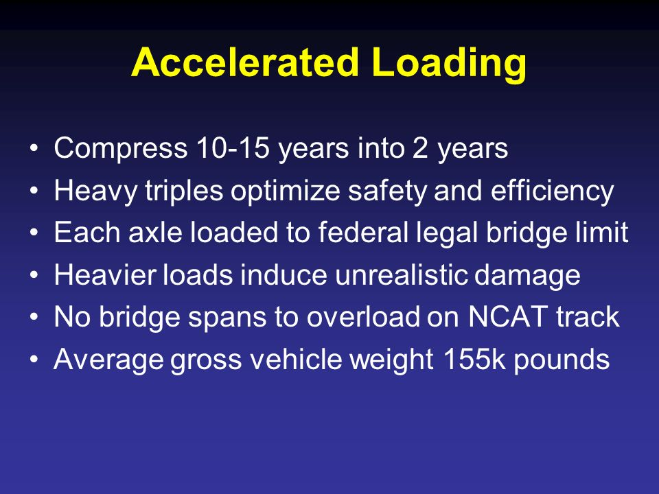 Accelerated Loading Compress 10-15 years into 2 years