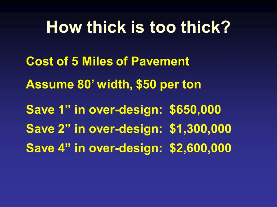 How thick is too thick Cost of 5 Miles of Pavement