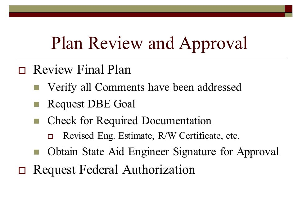 Plan Review and Approval
