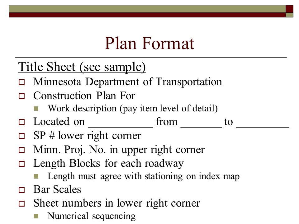 Plan Format Title Sheet (see sample)