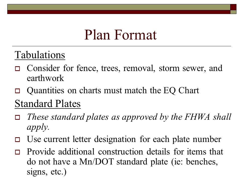 Plan Format Tabulations Standard Plates
