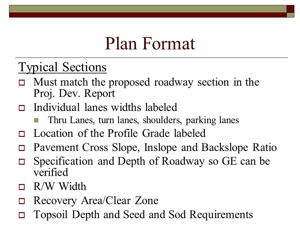 Plan Format Typical Sections
