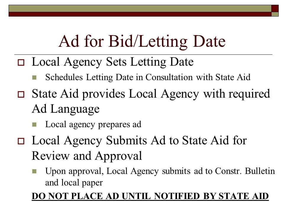 Ad for Bid/Letting Date