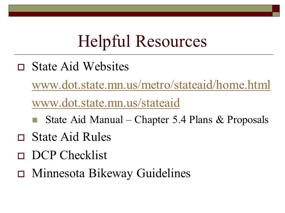 Helpful Resources State Aid Websites