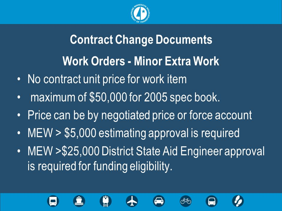 Contract Change Documents Work Orders - Minor Extra Work