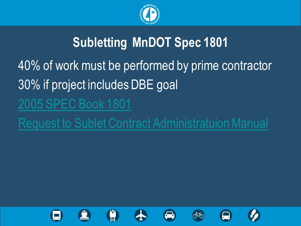 Subletting MnDOT Spec 1801