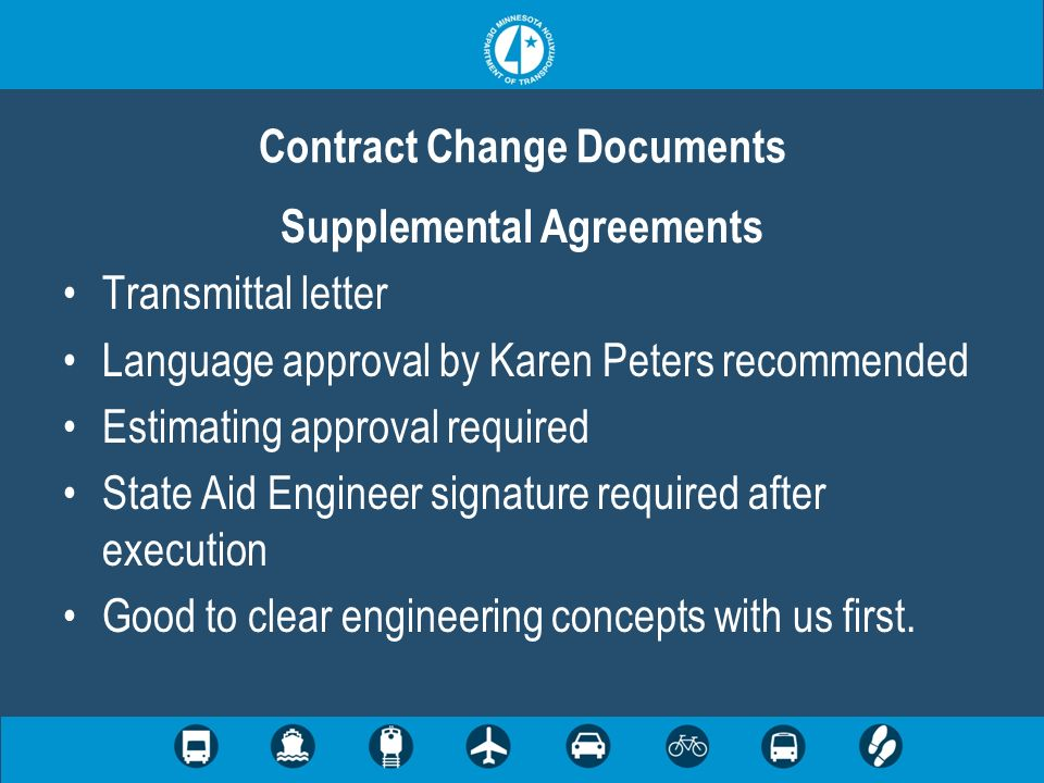 Contract Change Documents Supplemental Agreements