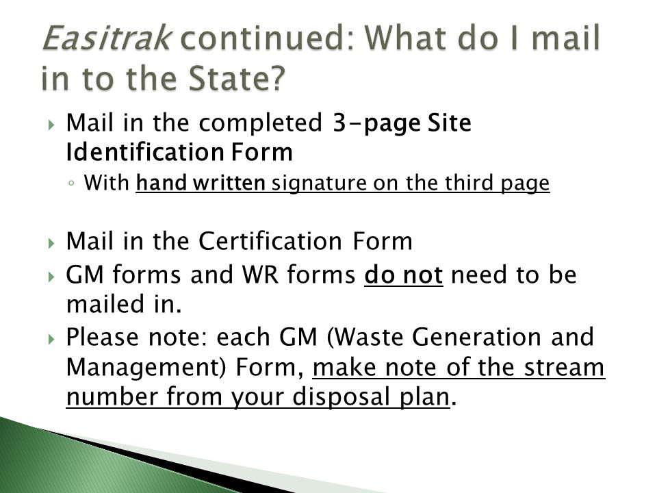 Easitrak continued: What do I mail in to the State