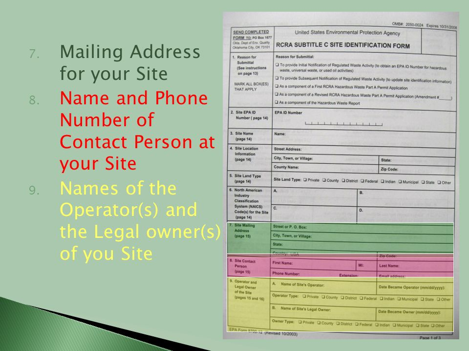 Mailing Address for your Site