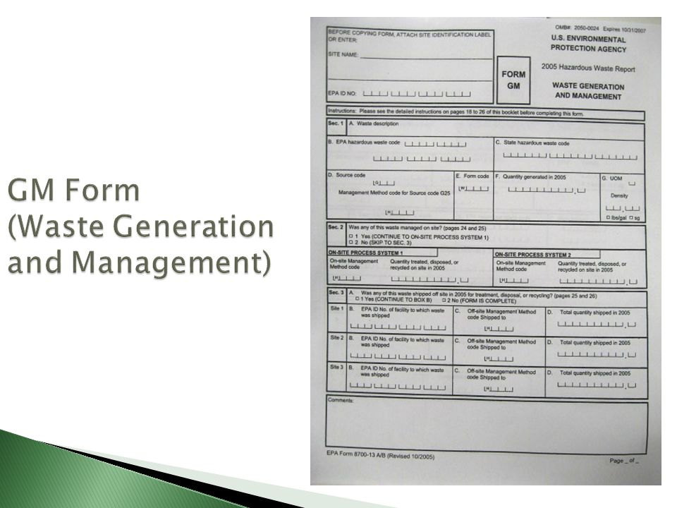 GM Form (Waste Generation and Management)