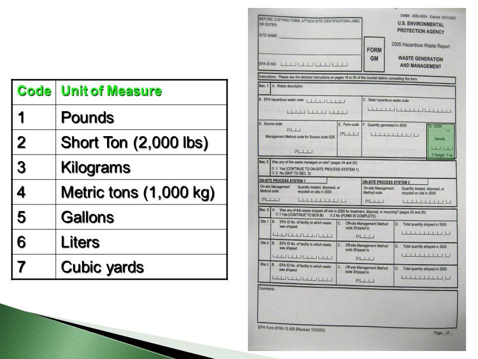 1 Pounds 2 Short Ton (2,000 lbs) 3 Kilograms 4 Metric tons (1,000 kg)
