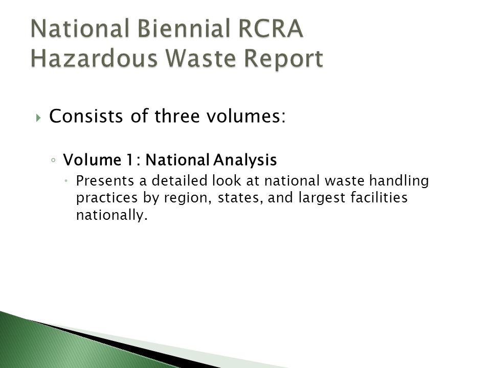 National Biennial RCRA Hazardous Waste Report
