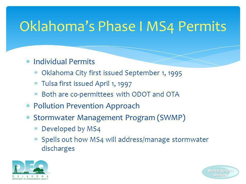 Oklahoma's Phase I MS4 Permits