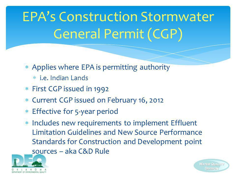 EPA's Construction Stormwater General Permit (CGP)