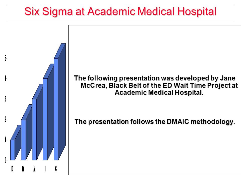six sigma at academic medical hospital mccrea 1 six sigma at academic medical hospital the following presentation was  developed by jane mccrea, black belt of the ed wait time project at academic.