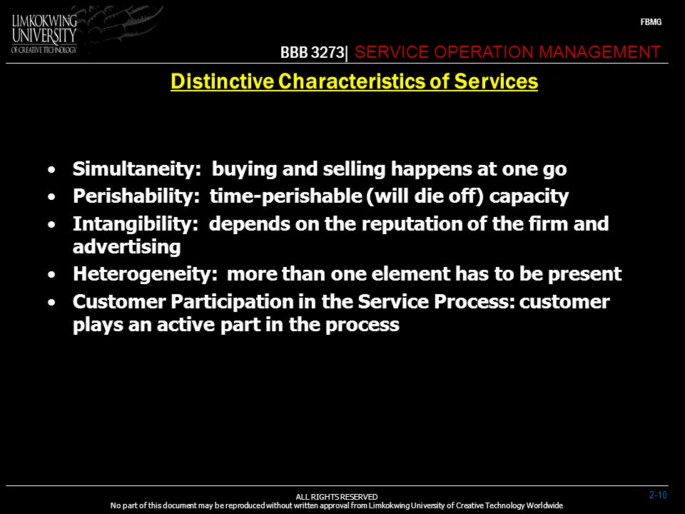 distinctive characteristics of services Services marketing: focus on service characteristics to create competitive advantage 0 now that you have this information, turn one or more of these service characteristics into a competitive advantage for your business.