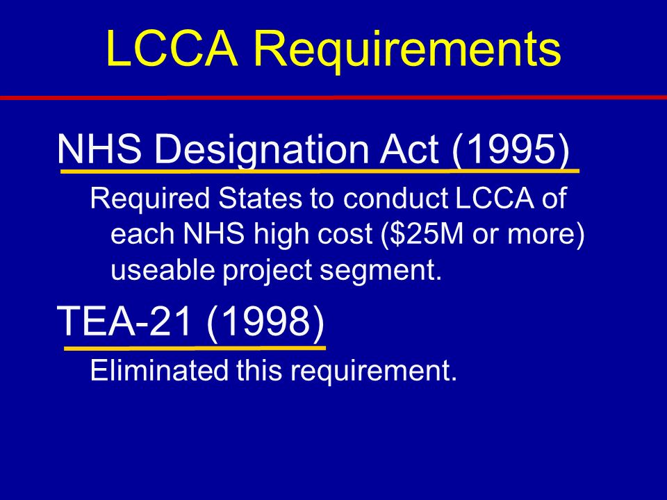 LCCA Requirements NHS Designation Act (1995) TEA-21 (1998)