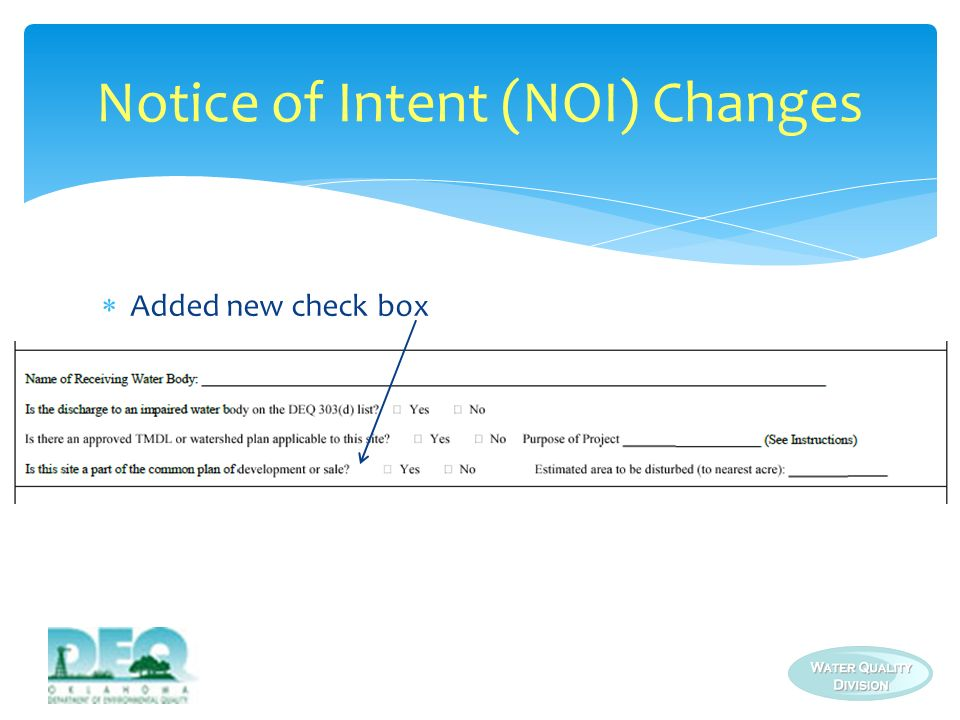 Notice of Intent (NOI) Changes