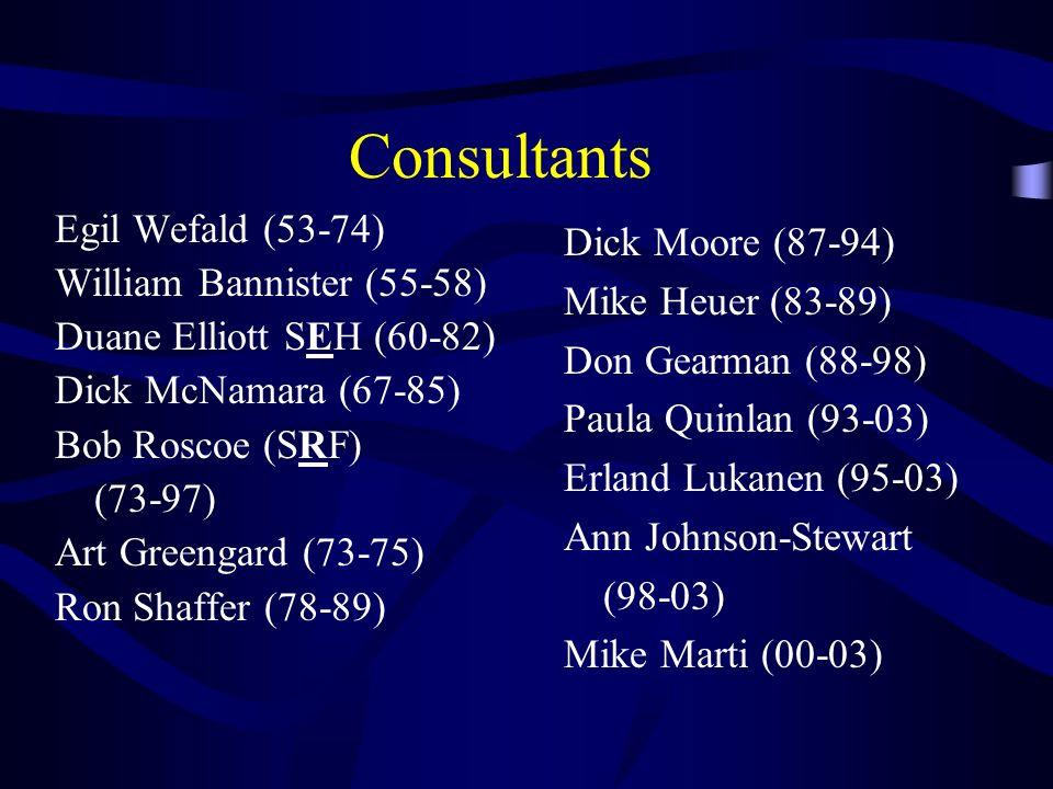 Consultants Egil Wefald (53-74) Dick Moore (87-94)
