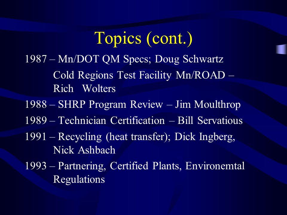 Topics (cont.) 1987 – Mn/DOT QM Specs; Doug Schwartz