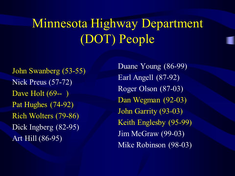 Minnesota Highway Department (DOT) People