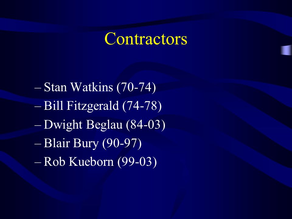 Contractors Stan Watkins (70-74) Bill Fitzgerald (74-78)